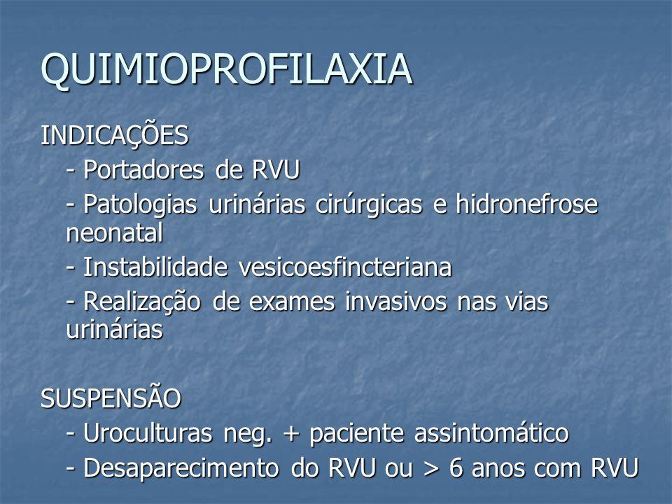 QUIMIOPROFILAXIA INDICAÇÕES - Portadores de RVU - Patologias urinárias cirúrgicas e hidronefrose neonatal - Instabilidade vesicoesfincteriana - Realiz
