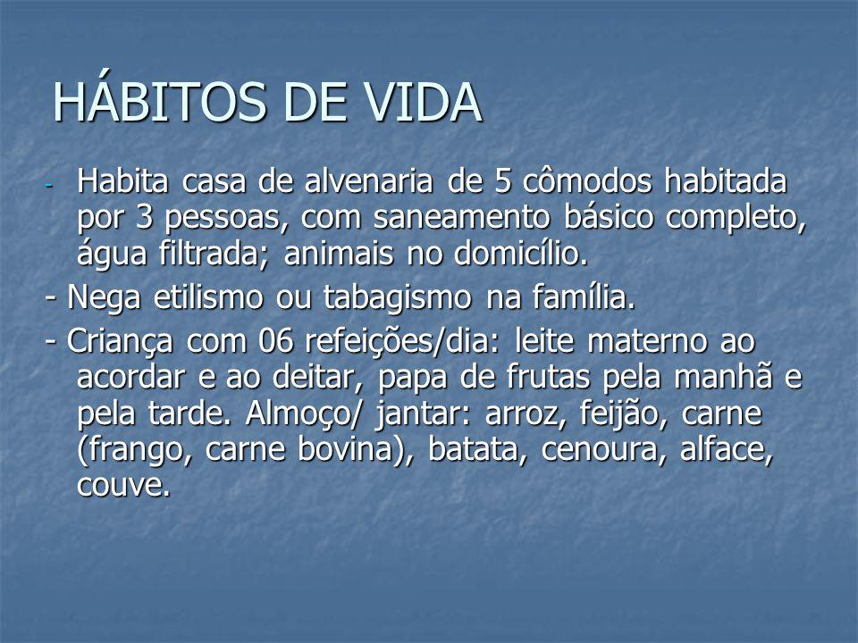 HÁBITOS DE VIDA - Habita casa de alvenaria de 5 cômodos habitada por 3 pessoas, com saneamento básico completo, água filtrada; animais no domicílio. -