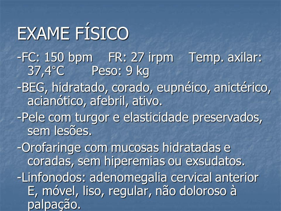 EXAME FÍSICO -FC: 150 bpm FR: 27 irpm Temp. axilar: 37,4°C Peso: 9 kg -BEG, hidratado, corado, eupnéico, anictérico, acianótico, afebril, ativo. -Pele
