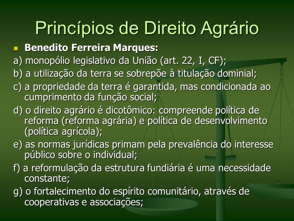 Princípios de Direito Agrário Benedito Ferreira Marques: Benedito Ferreira Marques: a) monopólio legislativo da União (art. 22, I, CF); b) a utilizaçã