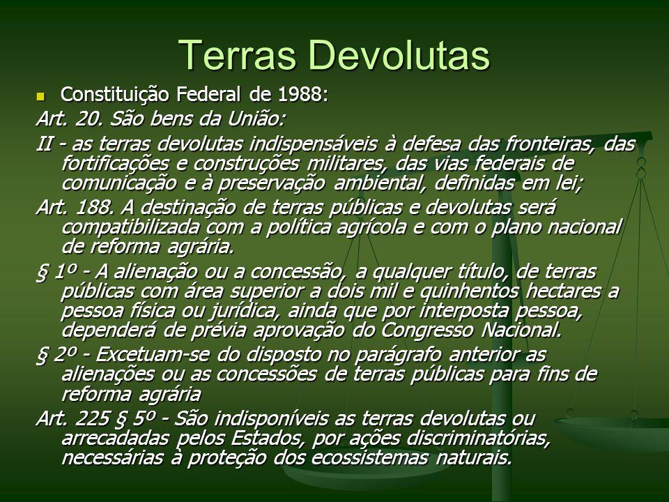 Terras Devolutas Constituição Federal de 1988: Constituição Federal de 1988: Art. 20. São bens da União: II - as terras devolutas indispensáveis à def