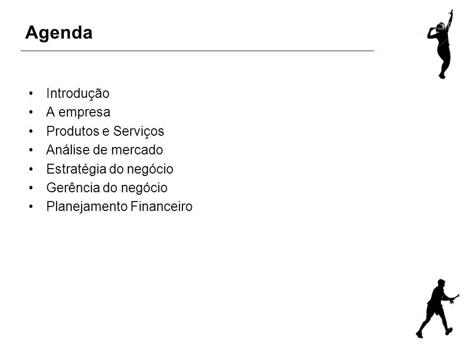 Agenda Introdução A empresa Produtos e Serviços Análise de mercado Estratégia do negócio Gerência do negócio Planejamento Financeiro