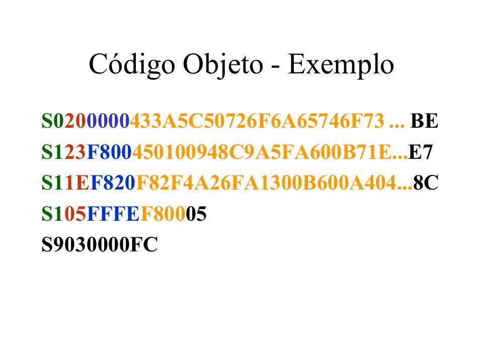 Código Objeto - Exemplo S0200000433A5C50726F6A65746F73...