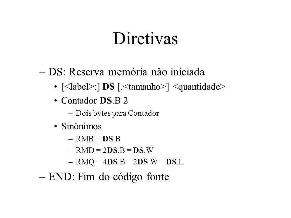 Diretivas –DS: Reserva memória não iniciada [ :] DS [.
