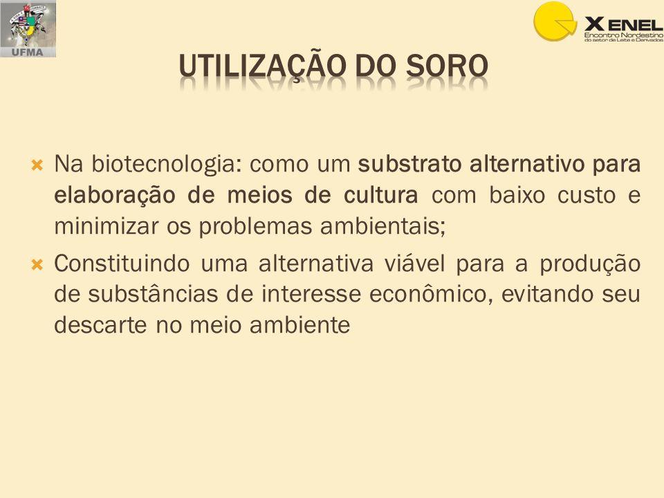 Na biotecnologia: como um substrato alternativo para elaboração de meios de cultura com baixo custo e minimizar os problemas ambientais; Constituindo