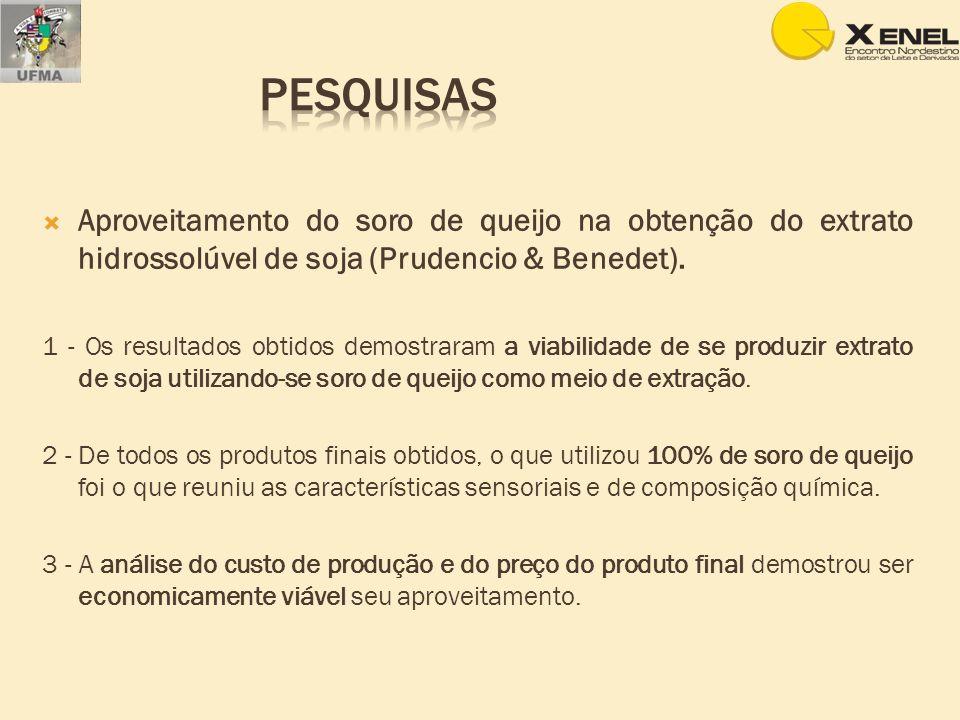 Aproveitamento do soro de queijo na obtenção do extrato hidrossolúvel de soja (Prudencio & Benedet). 1 - Os resultados obtidos demostraram a viabilida
