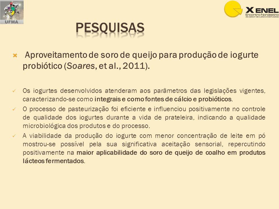 Aproveitamento de soro de queijo para produção de iogurte probiótico (Soares, et al., 2011). Os iogurtes desenvolvidos atenderam aos parâmetros das le