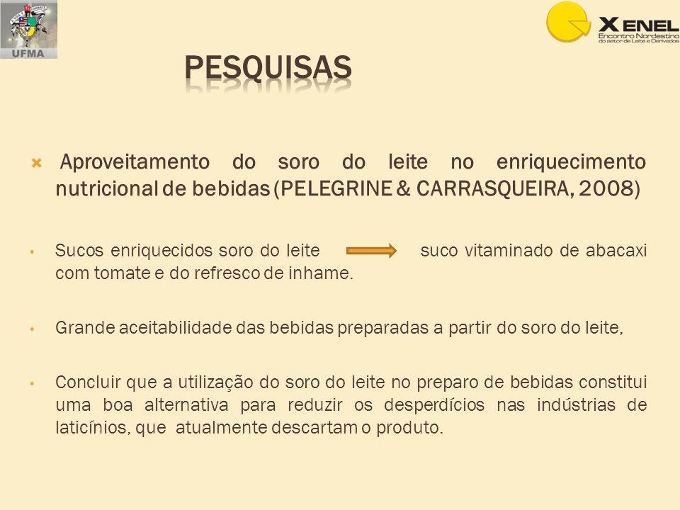 Aproveitamento do soro do leite no enriquecimento nutricional de bebidas (PELEGRINE & CARRASQUEIRA, 2008) Sucos enriquecidos soro do leite suco vitami