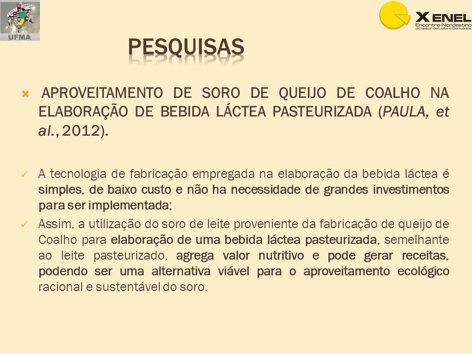 APROVEITAMENTO DE SORO DE QUEIJO DE COALHO NA ELABORAÇÃO DE BEBIDA LÁCTEA PASTEURIZADA (PAULA, et al., 2012). A tecnologia de fabricação empregada na