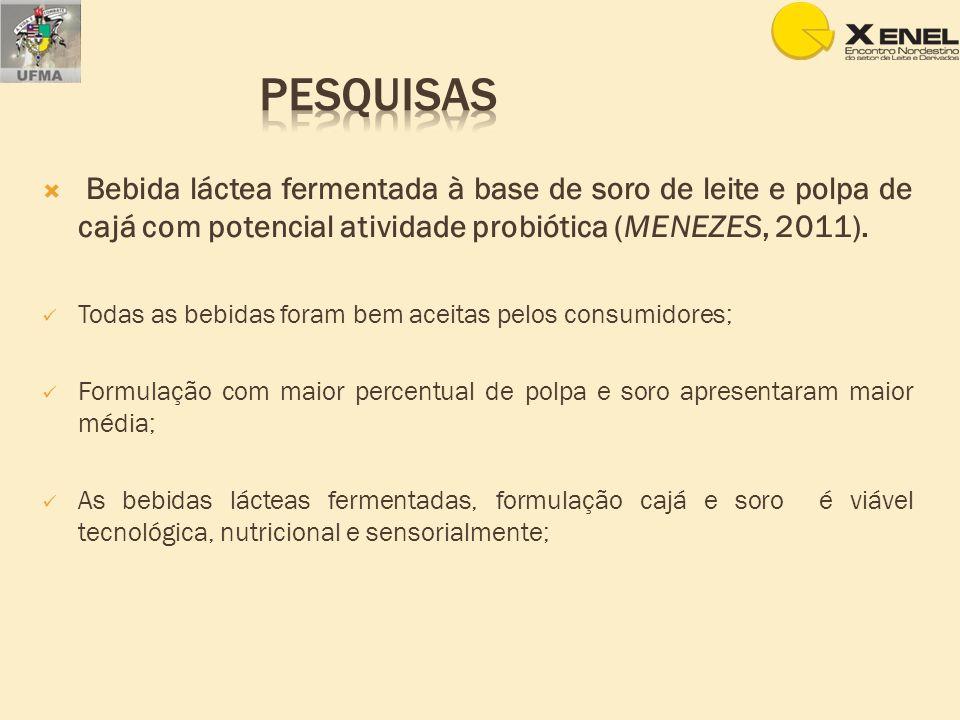 Bebida láctea fermentada à base de soro de leite e polpa de cajá com potencial atividade probiótica (MENEZES, 2011). Todas as bebidas foram bem aceita