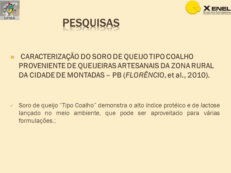 CARACTERIZAÇÃO DO SORO DE QUEIJO TIPO COALHO PROVENIENTE DE QUEIJEIRAS ARTESANAIS DA ZONA RURAL DA CIDADE DE MONTADAS – PB (FLORÊNCIO, et al., 2010).