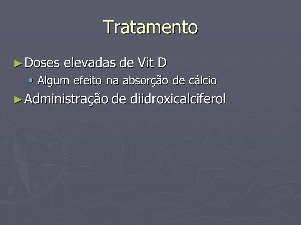 Tratamento Doses elevadas de Vit D Doses elevadas de Vit D Algum efeito na absorção de cálcio Algum efeito na absorção de cálcio Administração de diid