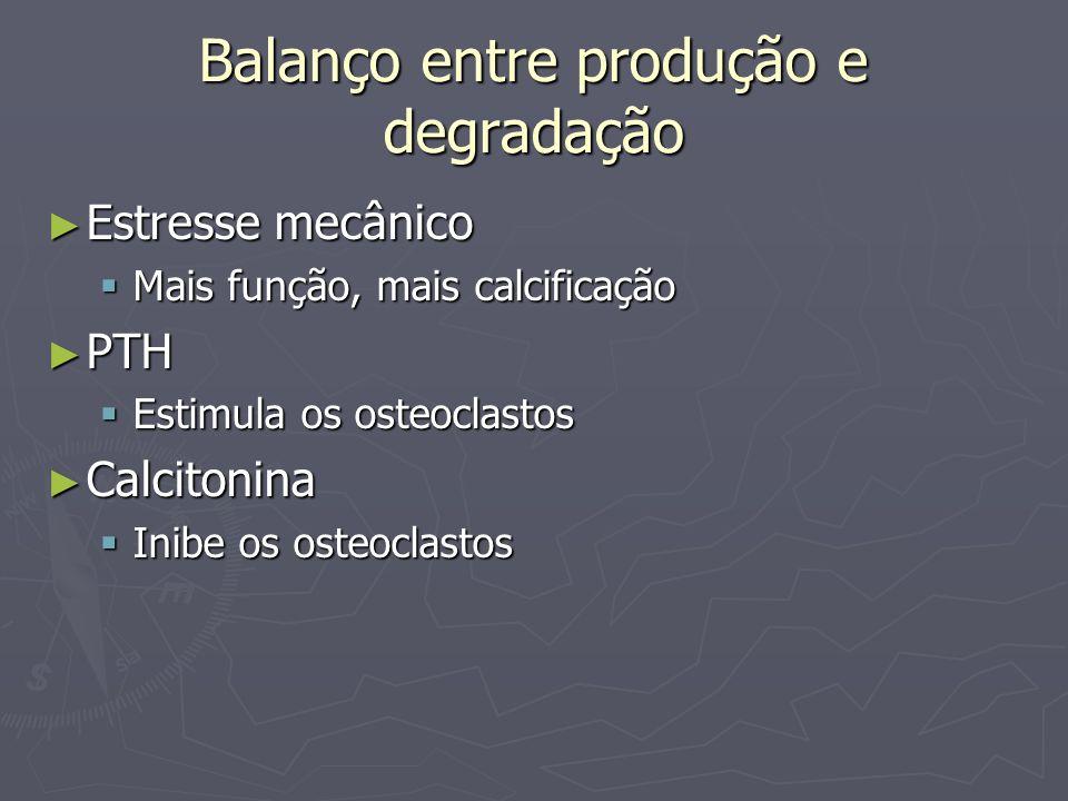 Balanço entre produção e degradação Estresse mecânico Estresse mecânico Mais função, mais calcificação Mais função, mais calcificação PTH PTH Estimula