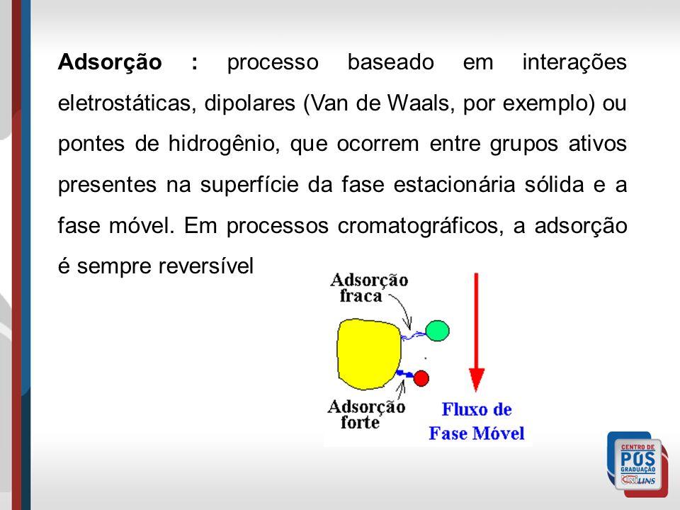 Adsorção : processo baseado em interações eletrostáticas, dipolares (Van de Waals, por exemplo) ou pontes de hidrogênio, que ocorrem entre grupos ativ