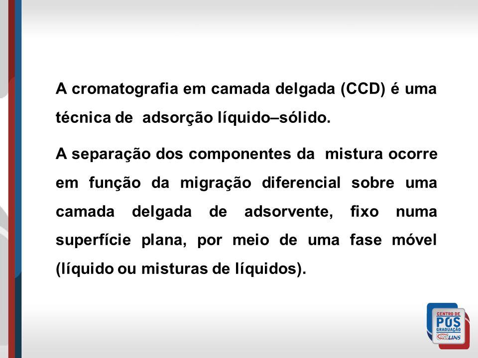 A cromatografia em camada delgada (CCD) é uma técnica de adsorção líquido–sólido. A separação dos componentes da mistura ocorre em função da migração