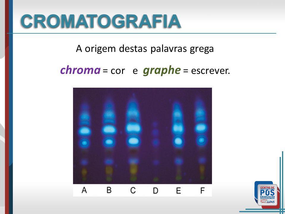 A origem destas palavras grega chroma = cor e graphe = escrever. CROMATOGRAFIACROMATOGRAFIA