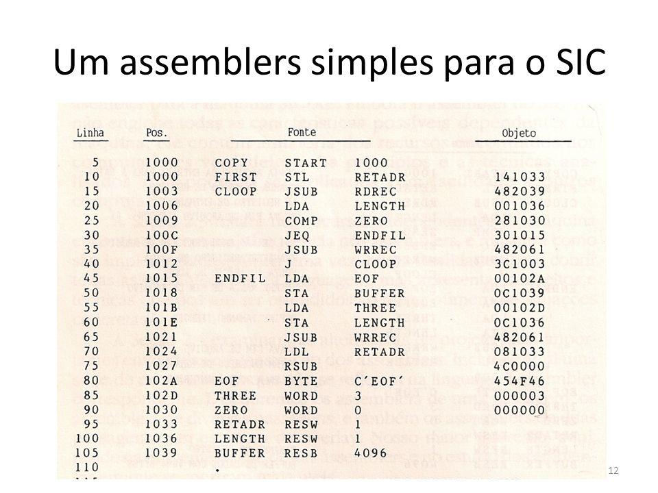Um assemblers simples para o SIC 12