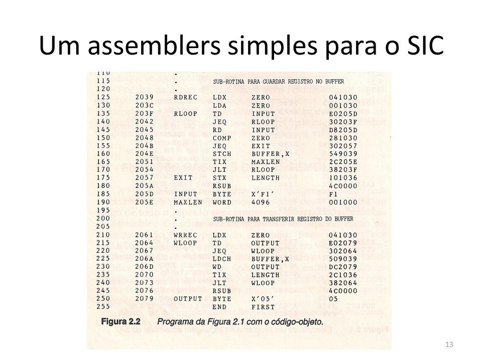 Um assemblers simples para o SIC 13
