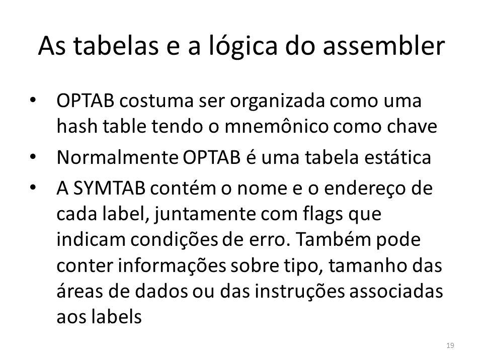 As tabelas e a lógica do assembler OPTAB costuma ser organizada como uma hash table tendo o mnemônico como chave Normalmente OPTAB é uma tabela estática A SYMTAB contém o nome e o endereço de cada label, juntamente com flags que indicam condições de erro.