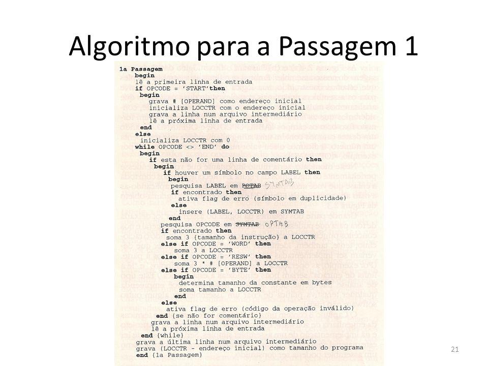 Algoritmo para a Passagem 1 21