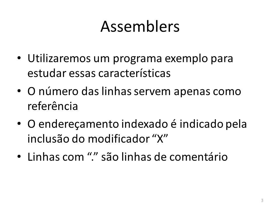 Assemblers Utilizaremos um programa exemplo para estudar essas características O número das linhas servem apenas como referência O endereçamento indexado é indicado pela inclusão do modificador X Linhas com.