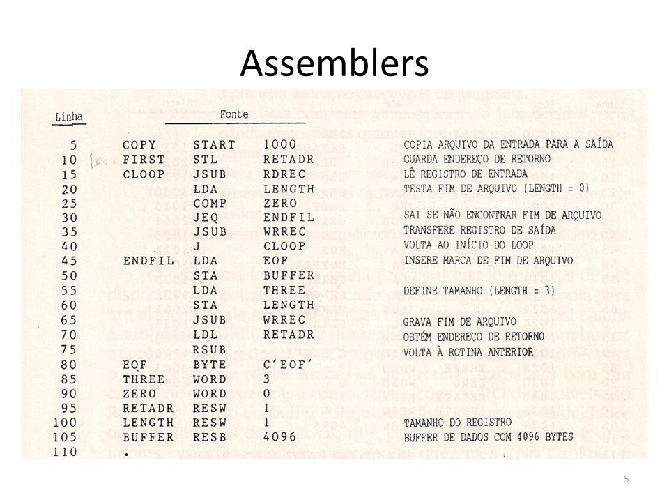 Um assemblers simples para o SIC Na figura o símbolo ^ é usado para separar os campos visualmente mas não aparecem no programa-objeto Funções do nosso assembler – Passagem 1 (define os símbolos) 1.Associa endereços a todas as instruções 2.Guarda os valores (endereços) associados aos labels 3.Executa parte do processamento das diretivas do assembler 16