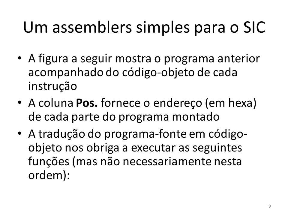 As tabelas e a lógica do assembler SYMTAB também é organizada em uma hash para tornar mais eficiente a inclusão e recuperação de dados É importante que a função hashing escolhida funcione bem com chaves não aleatórias (LOOP1, LOOP2, LOOPA...) Geralmente a 1ª passagem cria um arquivo intermediário contendo todas as instruções originais juntamente com os endereços associados a cada uma, os indicadores de erro, etc, que serve de entrada para a 2ª passagem 20
