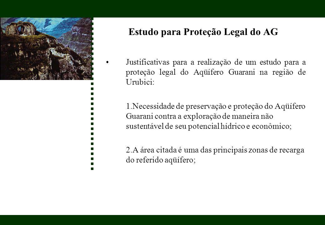Estudo para Proteção Legal do AG Justificativas para a realização de um estudo para a proteção legal do Aqüífero Guarani na região de Urubici: 1.Neces