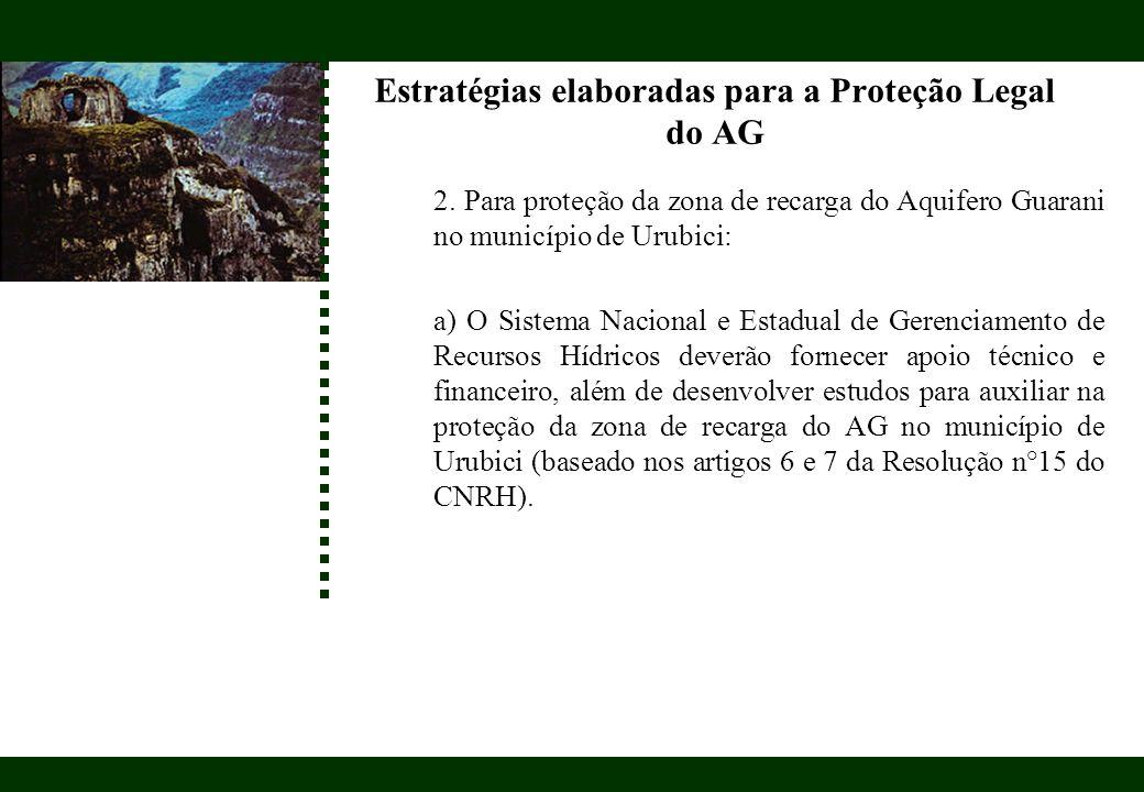 Estratégias elaboradas para a Proteção Legal do AG 2. Para proteção da zona de recarga do Aquifero Guarani no município de Urubici: a) O Sistema Nacio