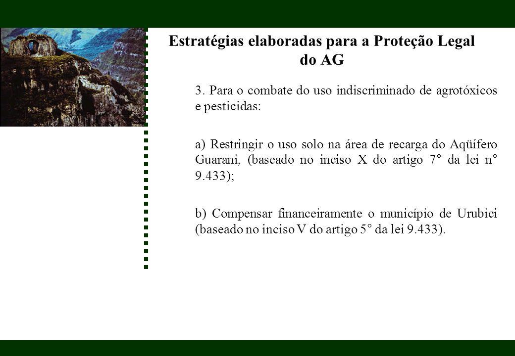 Estratégias elaboradas para a Proteção Legal do AG 3. Para o combate do uso indiscriminado de agrotóxicos e pesticidas: a) Restringir o uso solo na ár