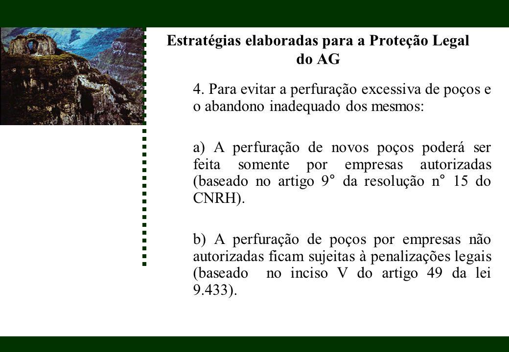 Estratégias elaboradas para a Proteção Legal do AG 4.Para evitar a perfuração excessiva de poços e o abandono inadequado dos mesmos: a) A perfuração d