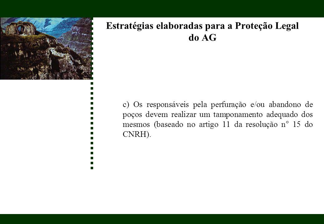 Estratégias elaboradas para a Proteção Legal do AG c) Os responsáveis pela perfuração e/ou abandono de poços devem realizar um tamponamento adequado d