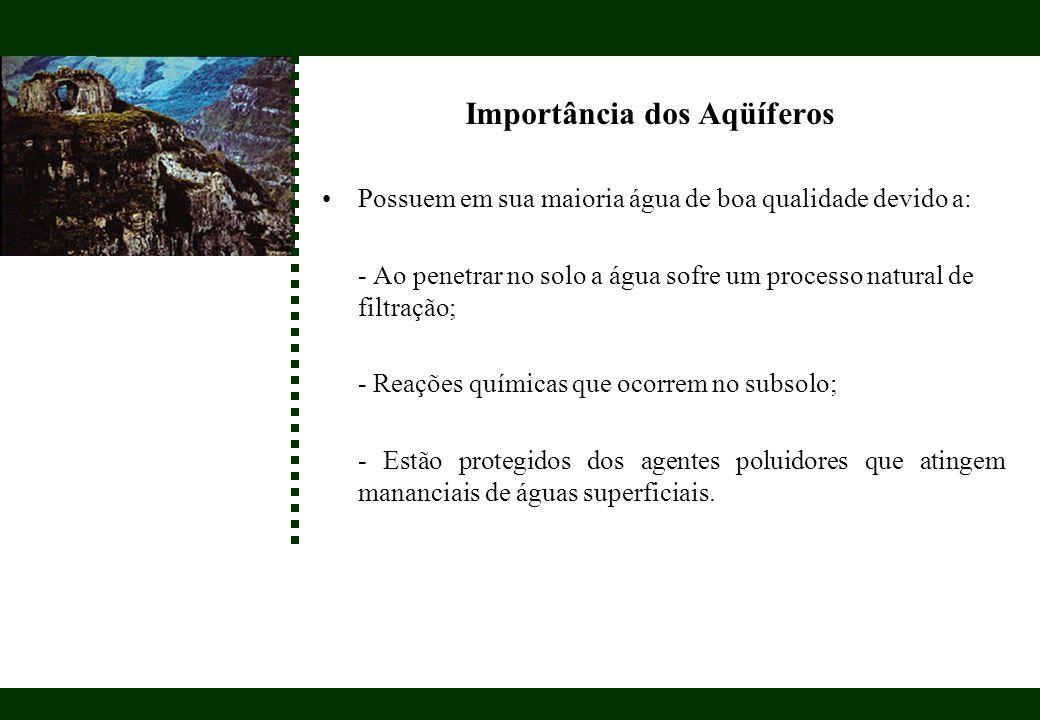 Importância dos Aqüíferos Possuem em sua maioria água de boa qualidade devido a: - Ao penetrar no solo a água sofre um processo natural de filtração;