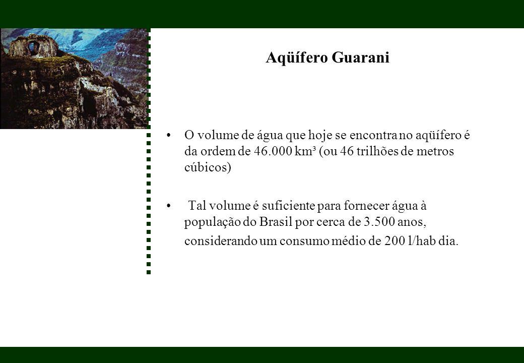 O volume de água que hoje se encontra no aqüífero é da ordem de 46.000 km³ (ou 46 trilhões de metros cúbicos) Tal volume é suficiente para fornecer ág