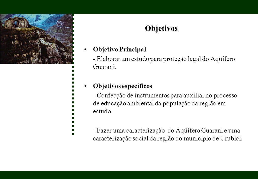 Objetivos Objetivo Principal - Elaborar um estudo para proteção legal do Aqüífero Guarani. Objetivos específicos - Confecção de instrumentos para auxi