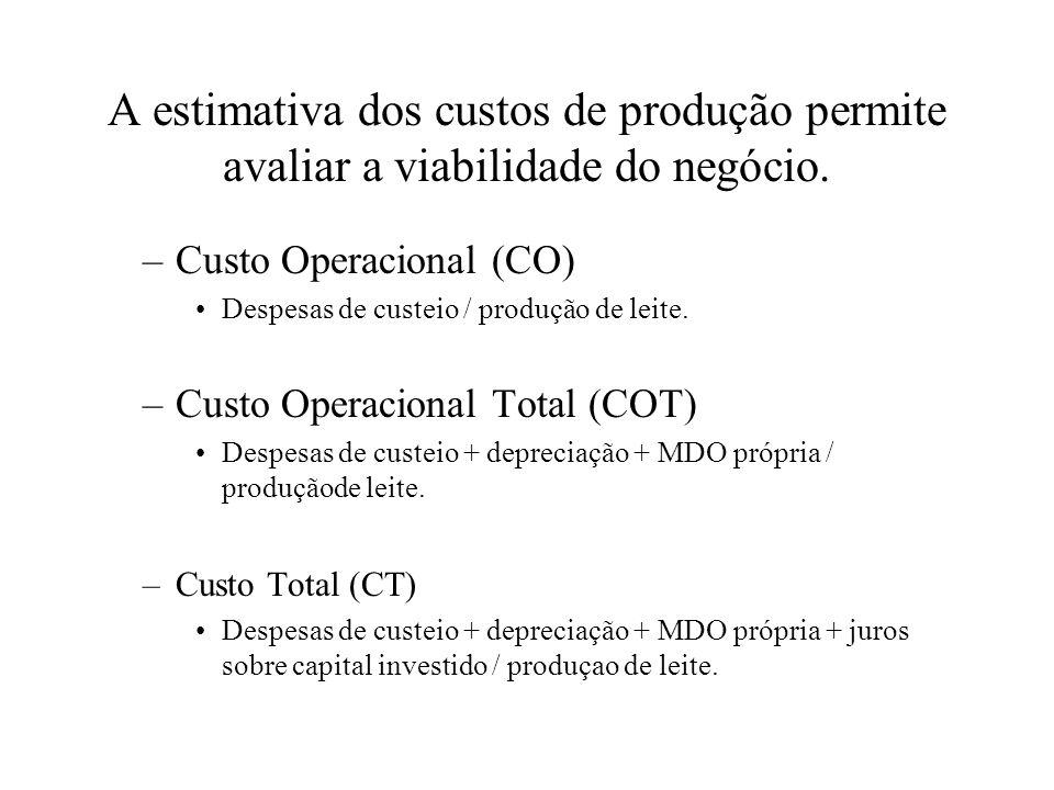 A estimativa dos custos de produção permite avaliar a viabilidade do negócio. –Custo Operacional (CO) Despesas de custeio / produção de leite. –Custo