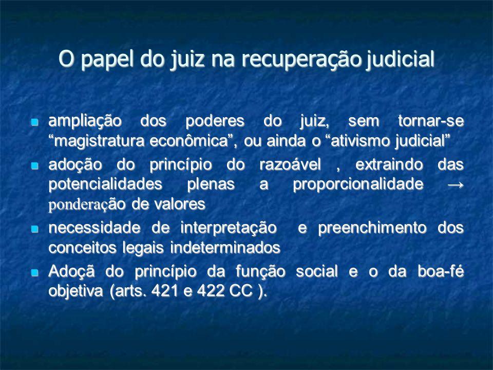 O papel do juiz na recuperaç ão judicial ampliaç ão dos poderes do juiz, sem tornar-se magistratura econômica, ou ainda o ativismo judicial ampliaç ão dos poderes do juiz, sem tornar-se magistratura econômica, ou ainda o ativismo judicial adoção do princípio do razoável, extraindo das potencialidades plenas a proporcionalidade ponderaç ão de valores adoção do princípio do razoável, extraindo das potencialidades plenas a proporcionalidade ponderaç ão de valores necessidade de interpretação e preenchimento dos conceitos legais indeterminados necessidade de interpretação e preenchimento dos conceitos legais indeterminados Adoçã do princípio da função social e o da boa-fé objetiva (arts.