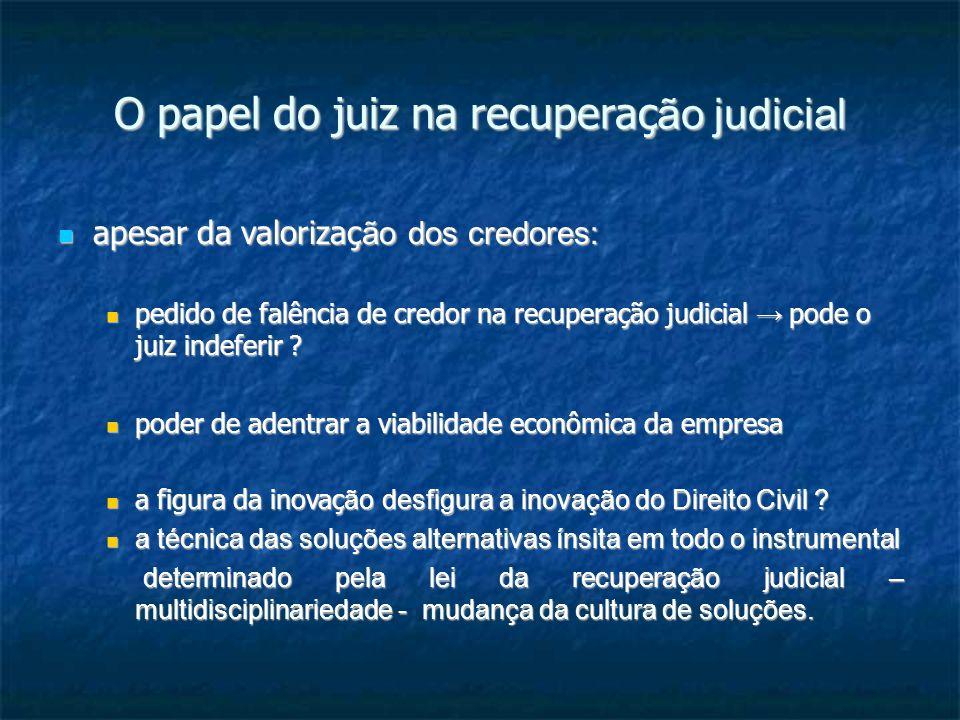 O papel do juiz na recuperaç ão judicial apesar da valorizaç ão dos credores: apesar da valorizaç ão dos credores: pedido de falência de credor na recuperação judicial pode o juiz indeferir .