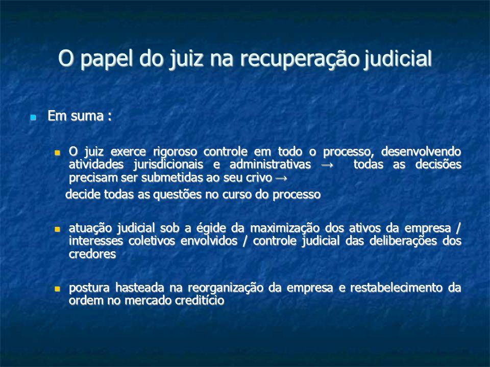 O papel do juiz na recuperaç ão judicial Estas as idéias mínimas com que iniciamos algumas considerações sobre o juiz na recuperação judicial .
