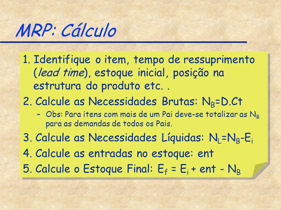 MRP: Cálculo 1. Identifique o item, tempo de ressuprimento (lead time), estoque inicial, posição na estrutura do produto etc.. 2. Calcule as Necessida