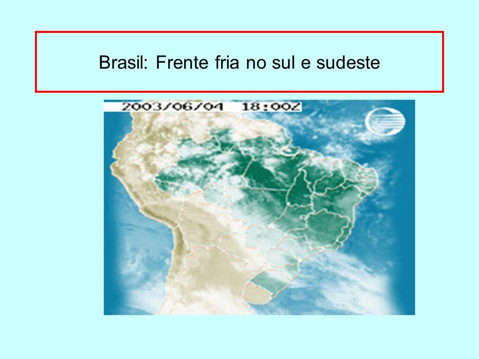 Brasil: Frente fria no sul e sudeste