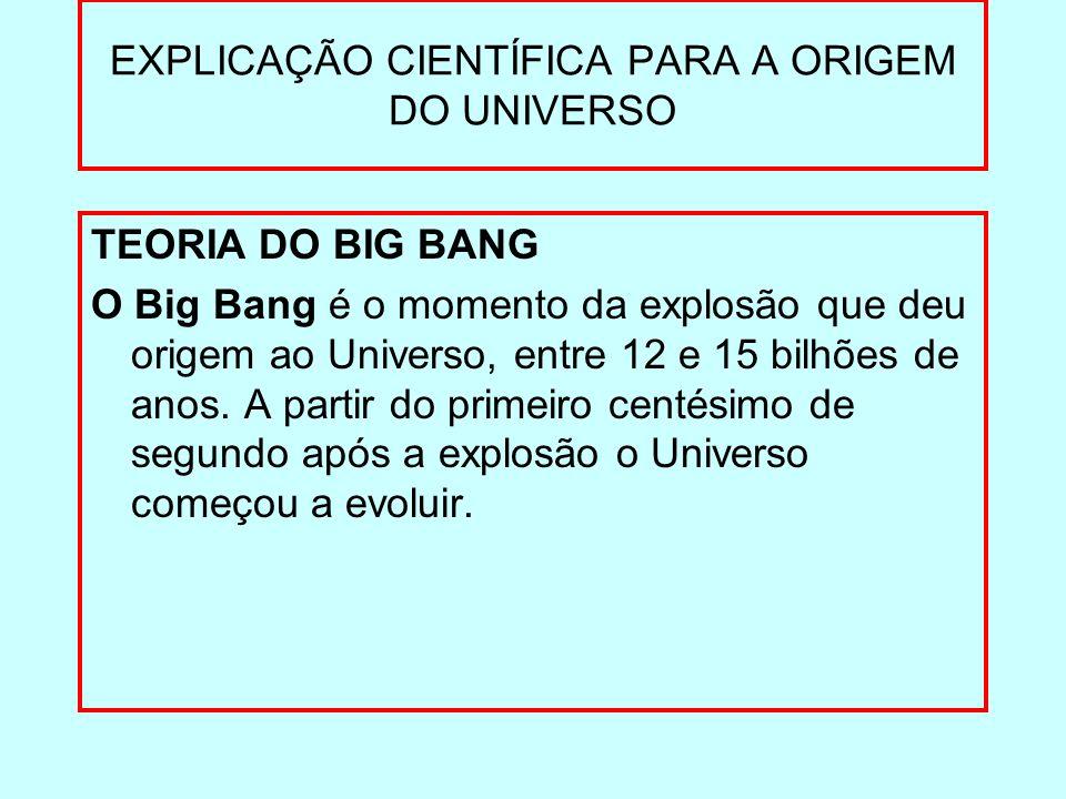 EXPLICAÇÃO CIENTÍFICA PARA A ORIGEM DO UNIVERSO TEORIA DO BIG BANG O Big Bang é o momento da explosão que deu origem ao Universo, entre 12 e 15 bilhõe