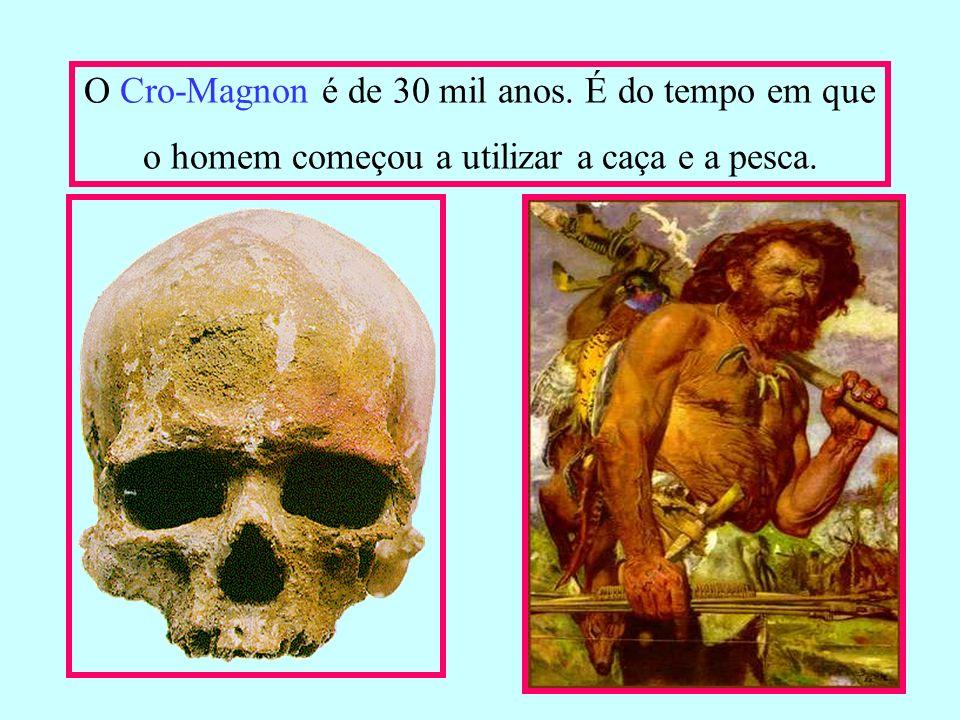 O Cro-Magnon é de 30 mil anos. É do tempo em que o homem começou a utilizar a caça e a pesca.