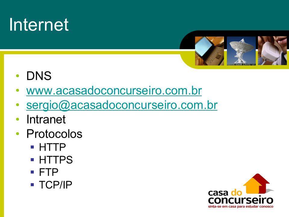 Internet DNS www.acasadoconcurseiro.com.br sergio@acasadoconcurseiro.com.brsergio@acasadoconcurseiro.com.br Intranet Protocolos HTTP HTTPS FTP TCP/IP