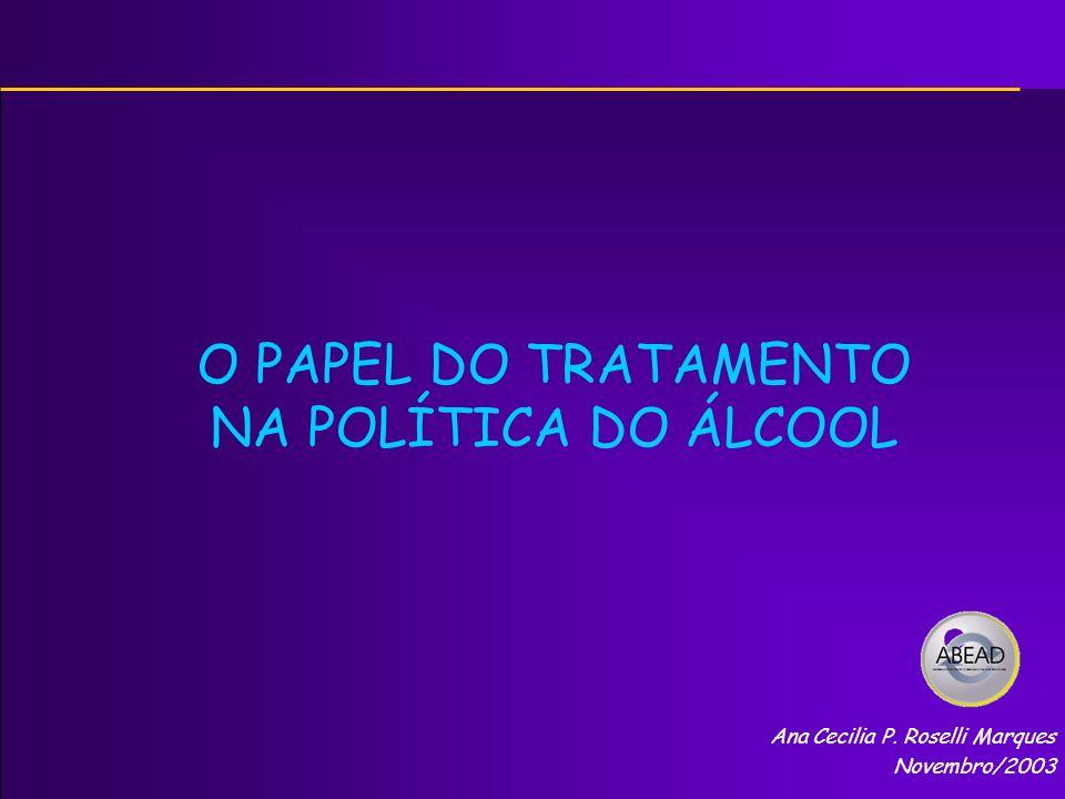 O PAPEL DO TRATAMENTO NA POLÍTICA DO ÁLCOOL Ana Cecilia P. Roselli Marques Novembro/2003