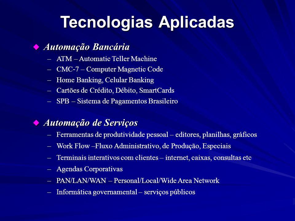 u Automação Bancária –ATM – Automatic Teller Machine –CMC-7 – Computer Magnetic Code –Home Banking, Celular Banking –Cartões de Crédito, Débito, Smart