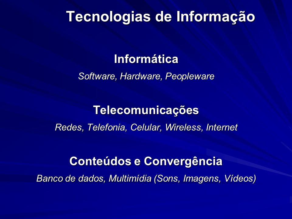 Tecnologias de Informação Informática Software, Hardware, Peopleware Telecomunicações Redes, Telefonia, Celular, Wireless, Internet Conteúdos e Conver