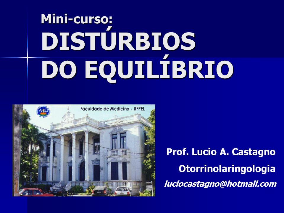 Mini-curso:DISTÚRBIOS DO EQUILÍBRIO Prof. Lucio A. Castagno Otorrinolaringologia luciocastagno@hotmail.com