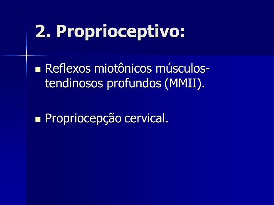 2. Proprioceptivo: Reflexos miotônicos músculos- tendinosos profundos (MMII). Reflexos miotônicos músculos- tendinosos profundos (MMII). Propriocepção