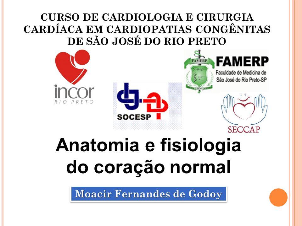 CURSO DE CARDIOLOGIA E CIRURGIA CARDÍACA EM CARDIOPATIAS CONGÊNITAS DE SÃO JOSÉ DO RIO PRETO Moacir Fernandes de Godoy Anatomia e fisiologia do coraçã